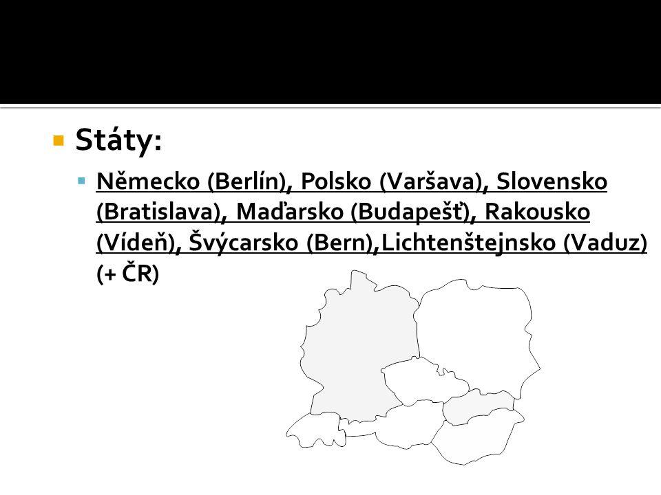  Obyvatelstvo:  germánské a slovanské národy ▪ nejvíc je Němců a Poláků  největší hustota zalidnění v Porúří  největší města: ▪ Berlín, Frankfurt nad Mohanem, Hamburk, Varšava, Katovice, Praha, Bratislava, Budapešť,Vídeň