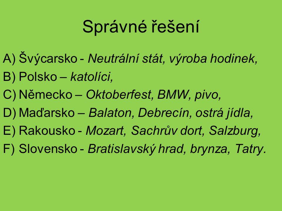 Správné řešení A)Švýcarsko - Neutrální stát, výroba hodinek, B)Polsko – katolíci, C)Německo – Oktoberfest, BMW, pivo, D)Maďarsko – Balaton, Debrecín,