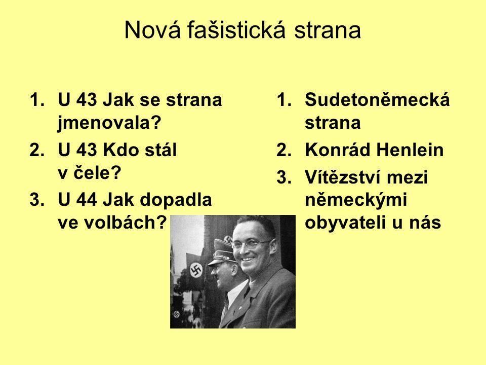 Nová fašistická strana 1.U 43 Jak se strana jmenovala.