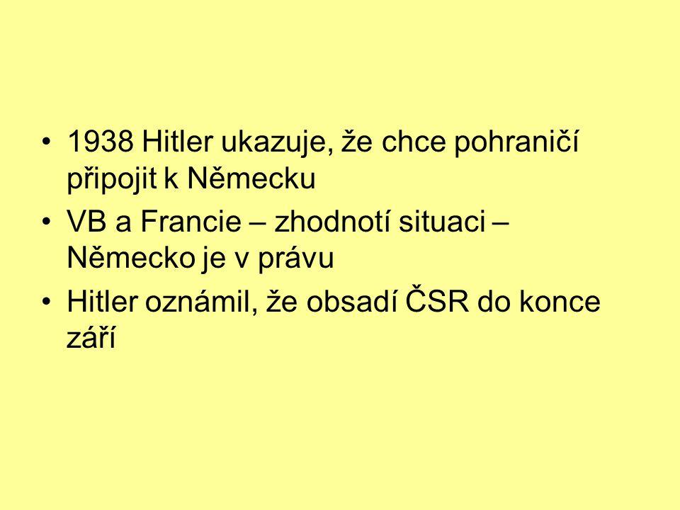 1938 Hitler ukazuje, že chce pohraničí připojit k Německu VB a Francie – zhodnotí situaci – Německo je v právu Hitler oznámil, že obsadí ČSR do konce září