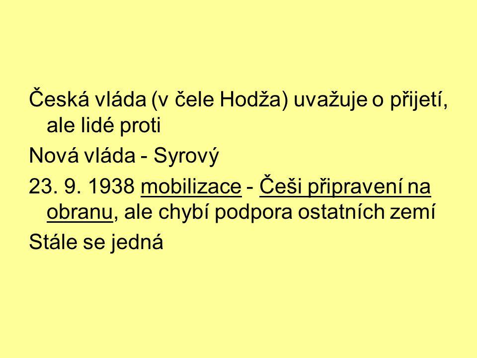 Česká vláda (v čele Hodža) uvažuje o přijetí, ale lidé proti Nová vláda - Syrový 23.