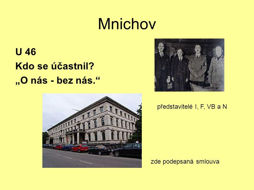 """Mnichov U 46 Kdo se účastnil? """"O nás - bez nás. zde podepsaná smlouva představitelé I, F, VB a N"""