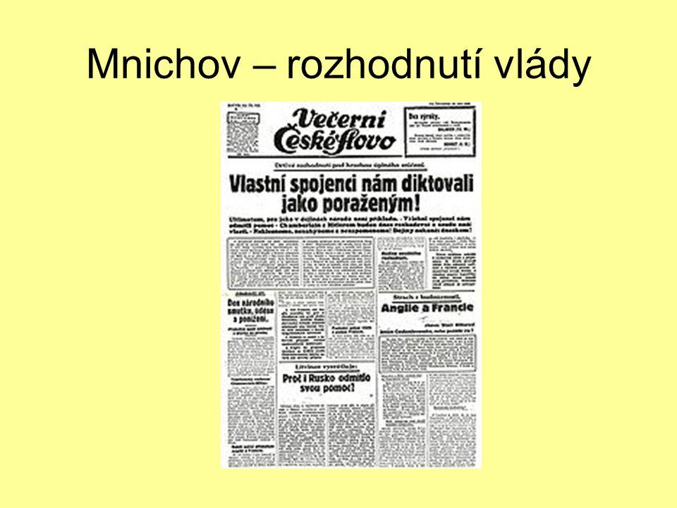 Mnichov – rozhodnutí vlády