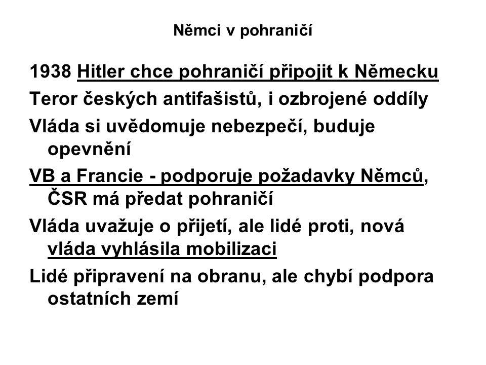 Němci v pohraničí 1938 Hitler chce pohraničí připojit k Německu Teror českých antifašistů, i ozbrojené oddíly Vláda si uvědomuje nebezpečí, buduje opevnění VB a Francie - podporuje požadavky Němců, ČSR má předat pohraničí Vláda uvažuje o přijetí, ale lidé proti, nová vláda vyhlásila mobilizaci Lidé připravení na obranu, ale chybí podpora ostatních zemí