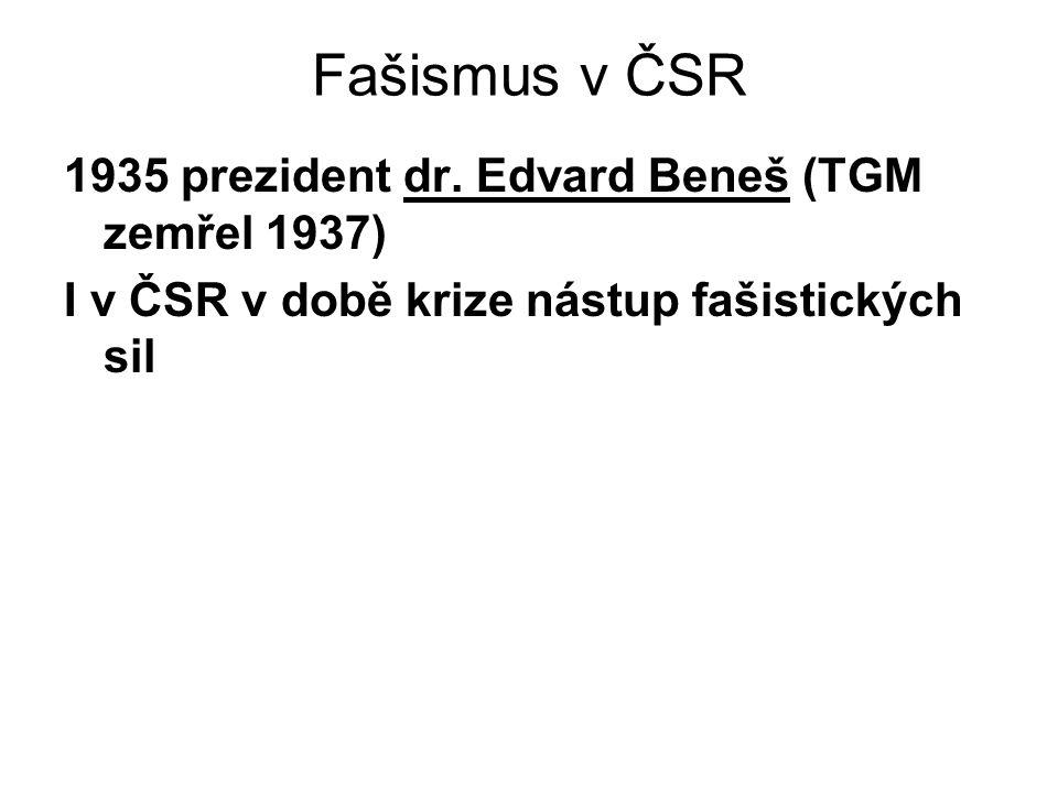 Fašismus v ČSR 1935 prezident dr.