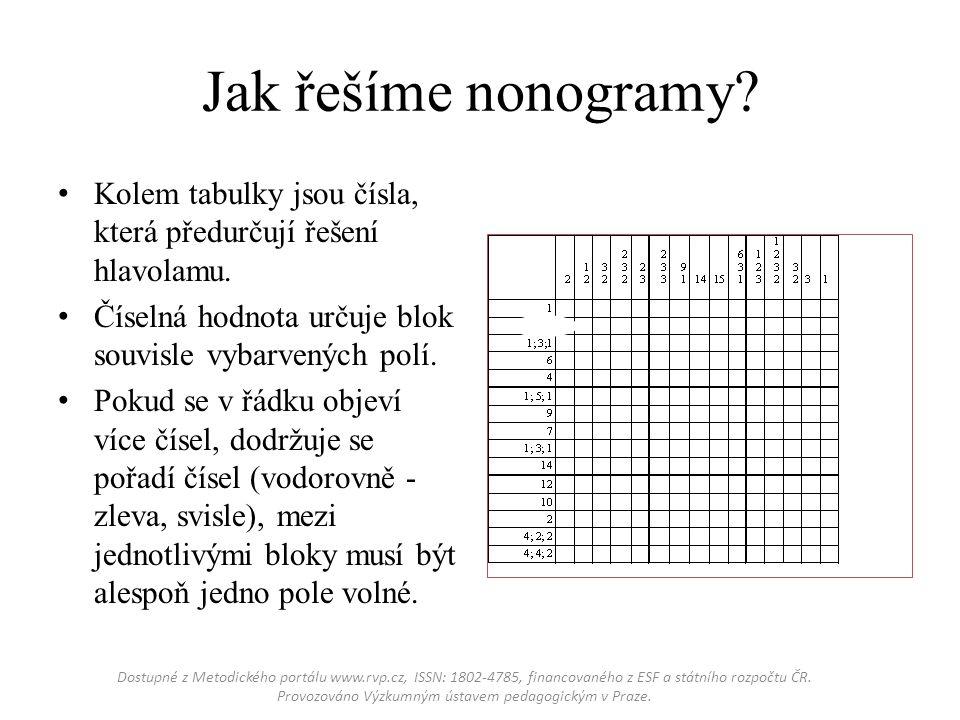 Jak řešíme nonogramy? Kolem tabulky jsou čísla, která předurčují řešení hlavolamu. Číselná hodnota určuje blok souvisle vybarvených polí. Pokud se v ř