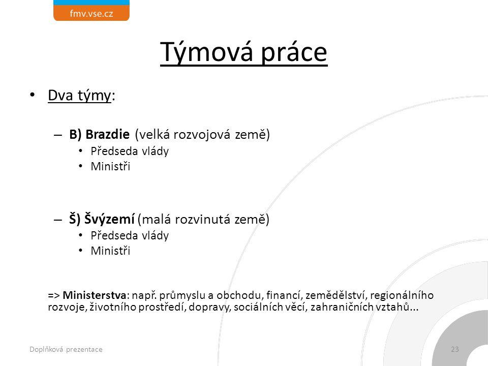 Týmová práce Dva týmy: – B) Brazdie (velká rozvojová země) Předseda vlády Ministři – Š) Švýzemí (malá rozvinutá země) Předseda vlády Ministři => Ministerstva: např.