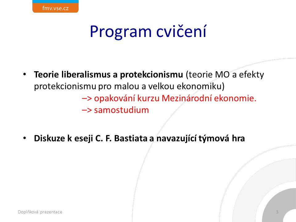 Program cvičení Teorie liberalismus a protekcionismu (teorie MO a efekty protekcionismu pro malou a velkou ekonomiku) –> opakování kurzu Mezinárodní ekonomie.
