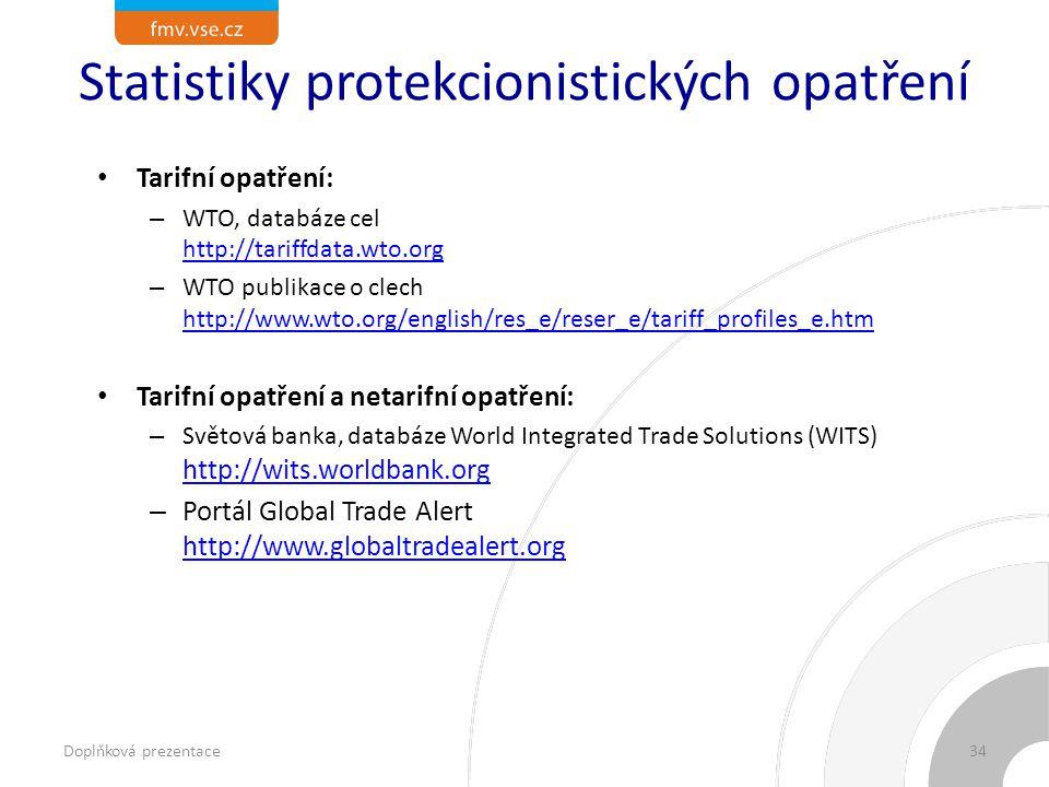 Statistiky protekcionistických opatření Tarifní opatření: – WTO, databáze cel http://tariffdata.wto.org http://tariffdata.wto.org – WTO publikace o clech http://www.wto.org/english/res_e/reser_e/tariff_profiles_e.htm http://www.wto.org/english/res_e/reser_e/tariff_profiles_e.htm Tarifní opatření a netarifní opatření: – Světová banka, databáze World Integrated Trade Solutions (WITS) http://wits.worldbank.org http://wits.worldbank.org – Portál Global Trade Alert http://www.globaltradealert.org http://www.globaltradealert.org Doplňková prezentace34