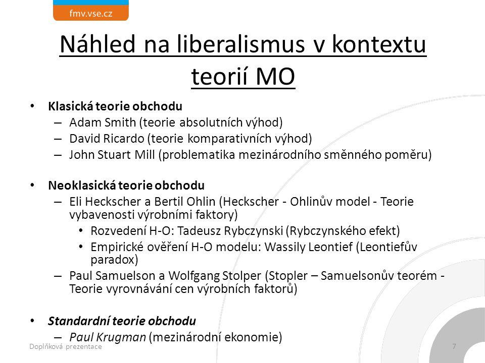 Náhled na liberalismus v kontextu teorií MO Klasická teorie obchodu – Adam Smith (teorie absolutních výhod) – David Ricardo (teorie komparativních výhod) – John Stuart Mill (problematika mezinárodního směnného poměru) Neoklasická teorie obchodu – Eli Heckscher a Bertil Ohlin (Heckscher - Ohlinův model - Teorie vybavenosti výrobními faktory) Rozvedení H-O: Tadeusz Rybczynski (Rybczynského efekt) Empirické ověření H-O modelu: Wassily Leontief (Leontiefův paradox) – Paul Samuelson a Wolfgang Stolper (Stopler – Samuelsonův teorém - Teorie vyrovnávání cen výrobních faktorů) Standardní teorie obchodu – Paul Krugman (mezinárodní ekonomie) Doplňková prezentace7