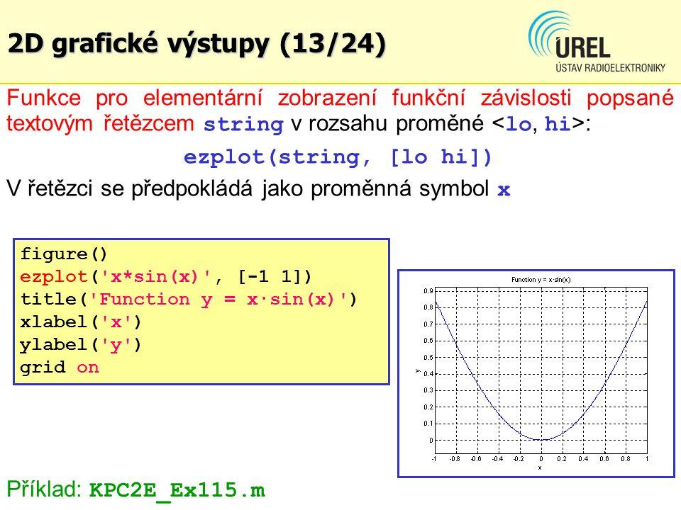 2D grafické výstupy (13/24) Funkce pro elementární zobrazení funkční závislosti popsané textovým řetězcem string v rozsahu proměné : ezplot(string, [l