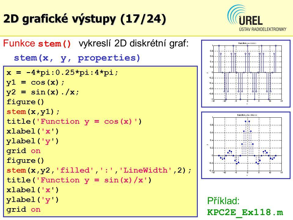 2D grafické výstupy (17/24) Funkce stem() vykreslí 2D diskrétní graf: stem(x, y, properties) x = -4*pi:0.25*pi:4*pi; y1 = cos(x); y2 = sin(x)./x; figu