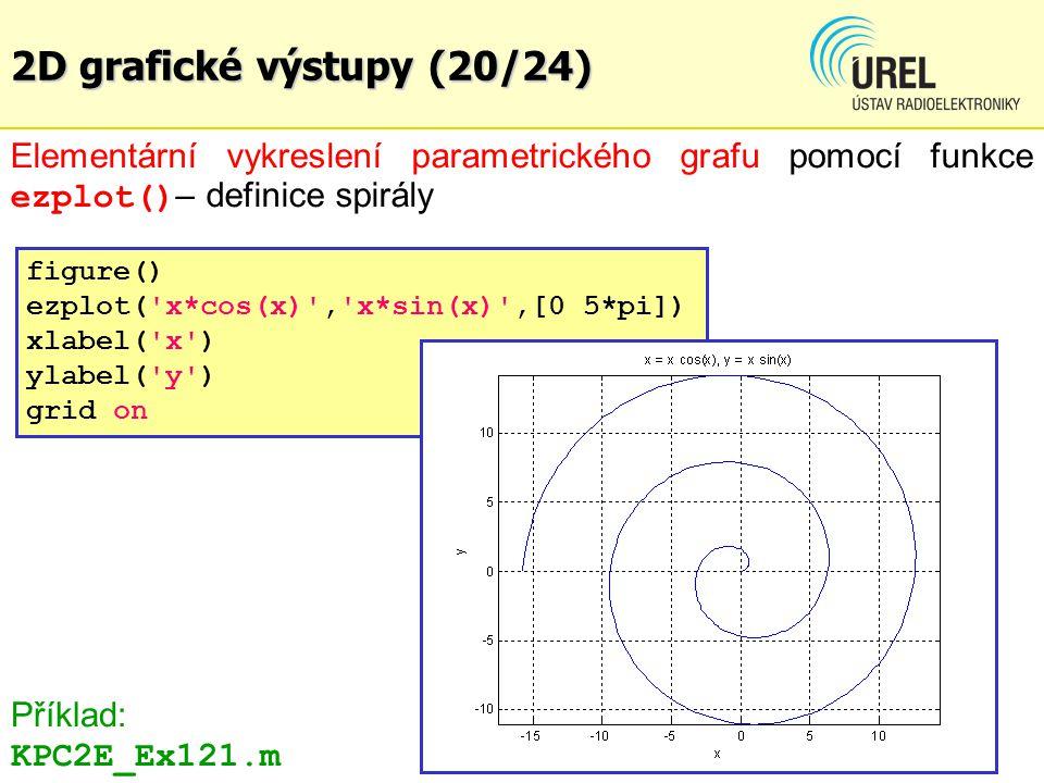 2D grafické výstupy (20/24) Elementární vykreslení parametrického grafu pomocí funkce ezplot() – definice spirály figure() ezplot('x*cos(x)','x*sin(x)