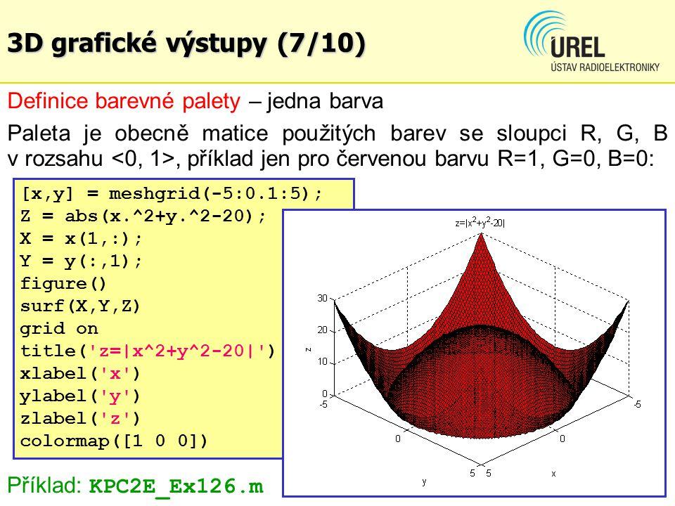 3D grafické výstupy (7/10) Definice barevné palety – jedna barva Paleta je obecně matice použitých barev se sloupci R, G, B v rozsahu, příklad jen pro