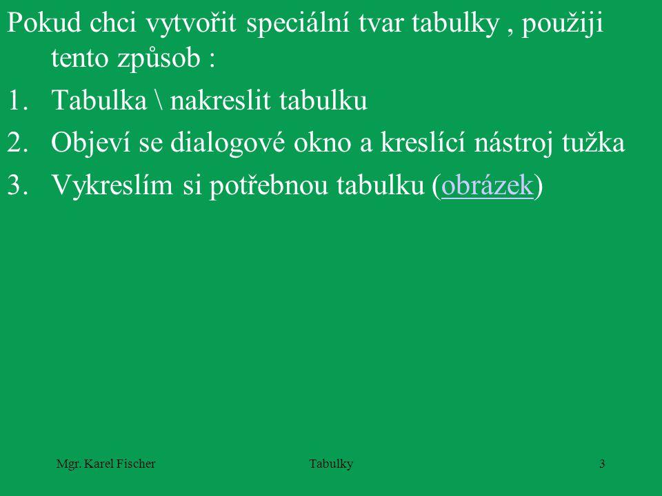 Mgr. Karel FischerTabulky3 Pokud chci vytvořit speciální tvar tabulky, použiji tento způsob : 1.Tabulka \ nakreslit tabulku 2.Objeví se dialogové okno