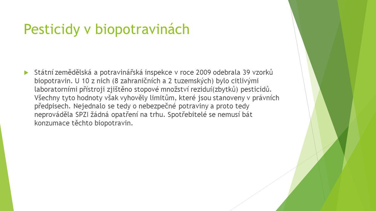 Pesticidy v biopotravinách  Státní zemědělská a potravinářská inspekce v roce 2009 odebrala 39 vzorků biopotravin. U 10 z nich (8 zahraničních a 2 tu
