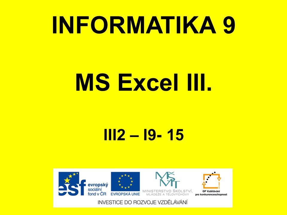 INFORMATIKA 9 MS Excel III. III2 – I9- 15