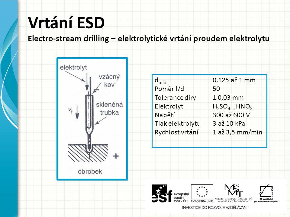 d min 0,125 až 1 mm Poměr l/d50 Tolerance díry± 0,03 mm ElektrolytH 2 SO 4 ; HNO 3 Napětí300 až 600 V Tlak elektrolytu3 až 10 kPa Rychlost vrtání1 až 3,5 mm/min Vrtání ESD Electro-stream drilling – elektrolytické vrtání proudem elektrolytu
