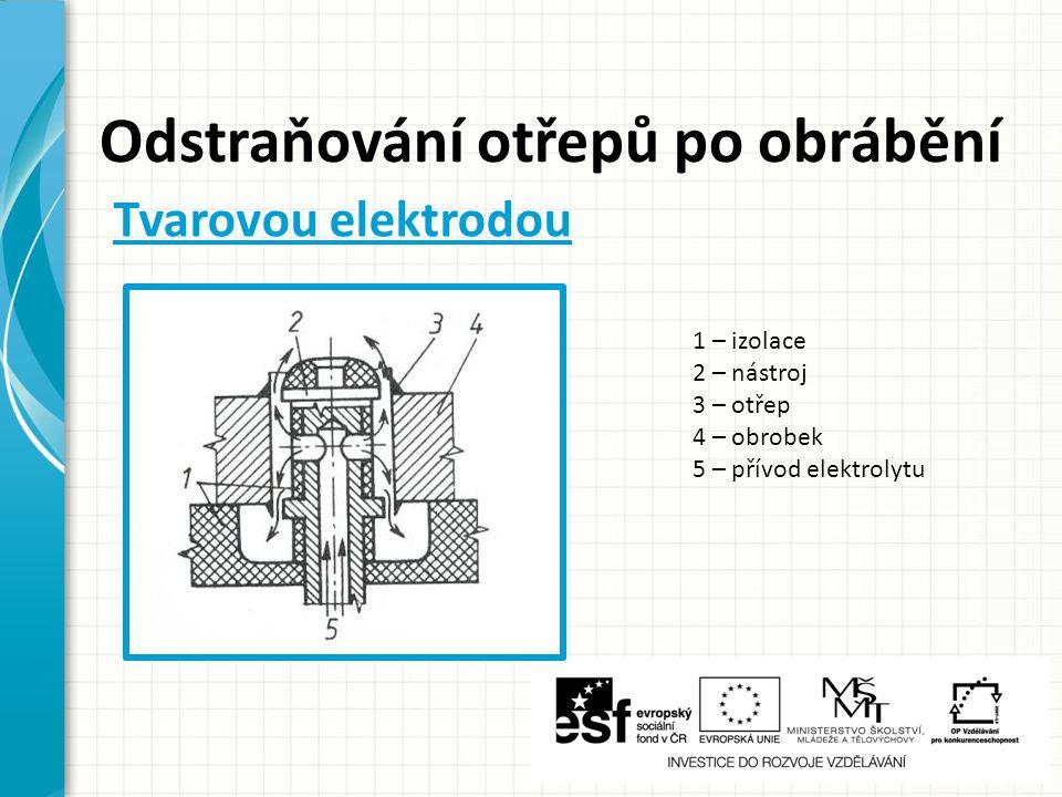 Odstraňování otřepů po obrábění 1 – izolace 2 – nástroj 3 – otřep 4 – obrobek 5 – přívod elektrolytu Tvarovou elektrodou