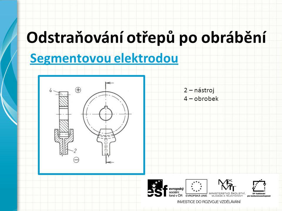 Odstraňování otřepů po obrábění 2 – nástroj 4 – obrobek Segmentovou elektrodou