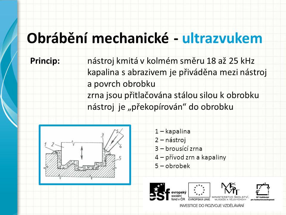 """Obrábění mechanické - ultrazvukem 1 – kapalina 2 – nástroj 3 – brousící zrna 4 – přívod zrn a kapaliny 5 – obrobek Princip: nástroj kmitá v kolmém směru 18 až 25 kHz kapalina s abrazivem je přiváděna mezi nástroj a povrch obrobku zrna jsou přitlačována stálou silou k obrobku nástroj je """"překopírován do obrobku"""
