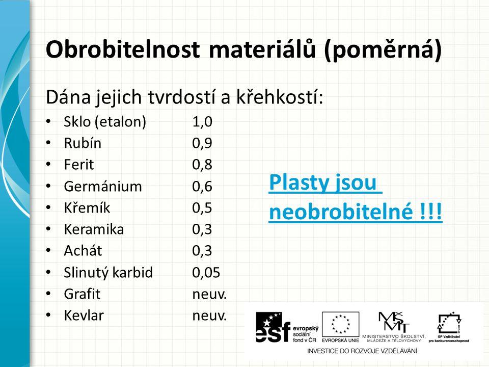 Obrobitelnost materiálů (poměrná) Dána jejich tvrdostí a křehkostí: Sklo (etalon)1,0 Rubín0,9 Ferit0,8 Germánium0,6 Křemík0,5 Keramika0,3 Achát0,3 Slinutý karbid0,05 Grafitneuv.
