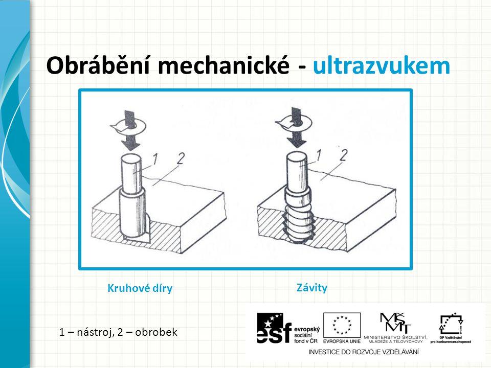 Obrábění mechanické - ultrazvukem Kruhové díry Závity 1 – nástroj, 2 – obrobek