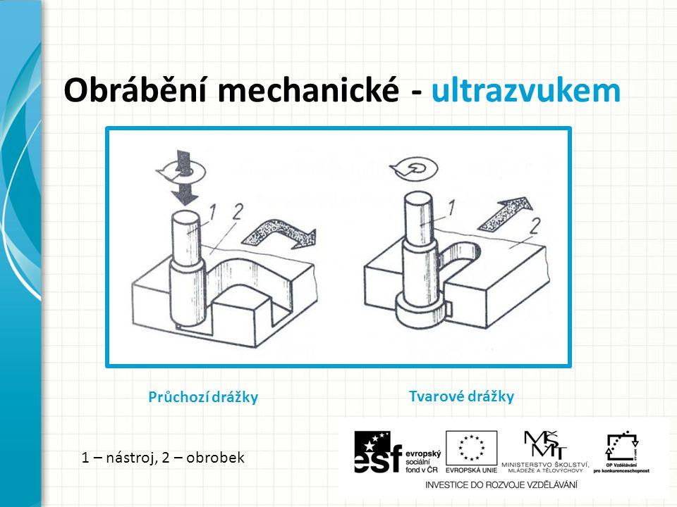 Obrábění mechanické - ultrazvukem Průchozí drážky Tvarové drážky 1 – nástroj, 2 – obrobek