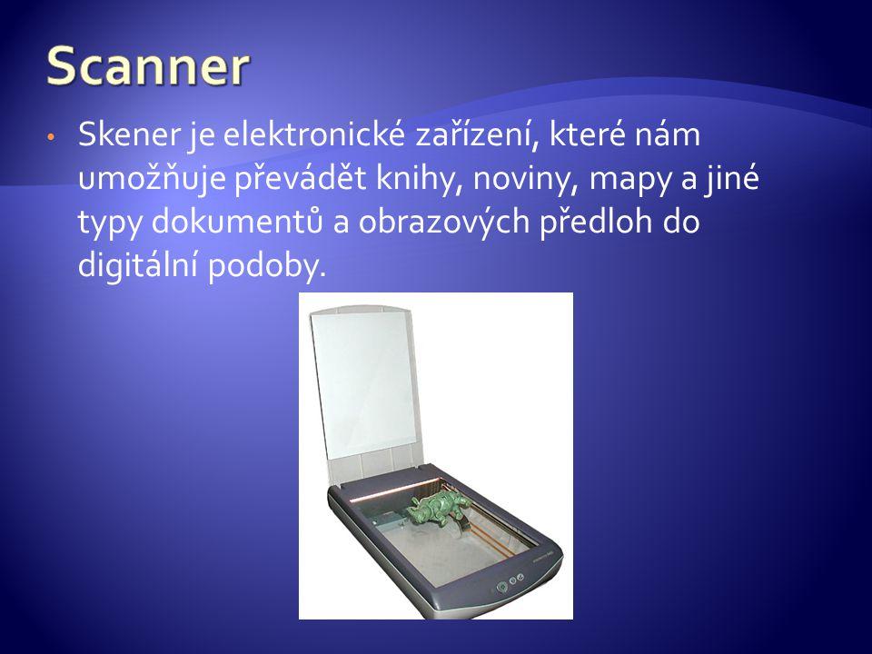 Skener je elektronické zařízení, které nám umožňuje převádět knihy, noviny, mapy a jiné typy dokumentů a obrazových předloh do digitální podoby.