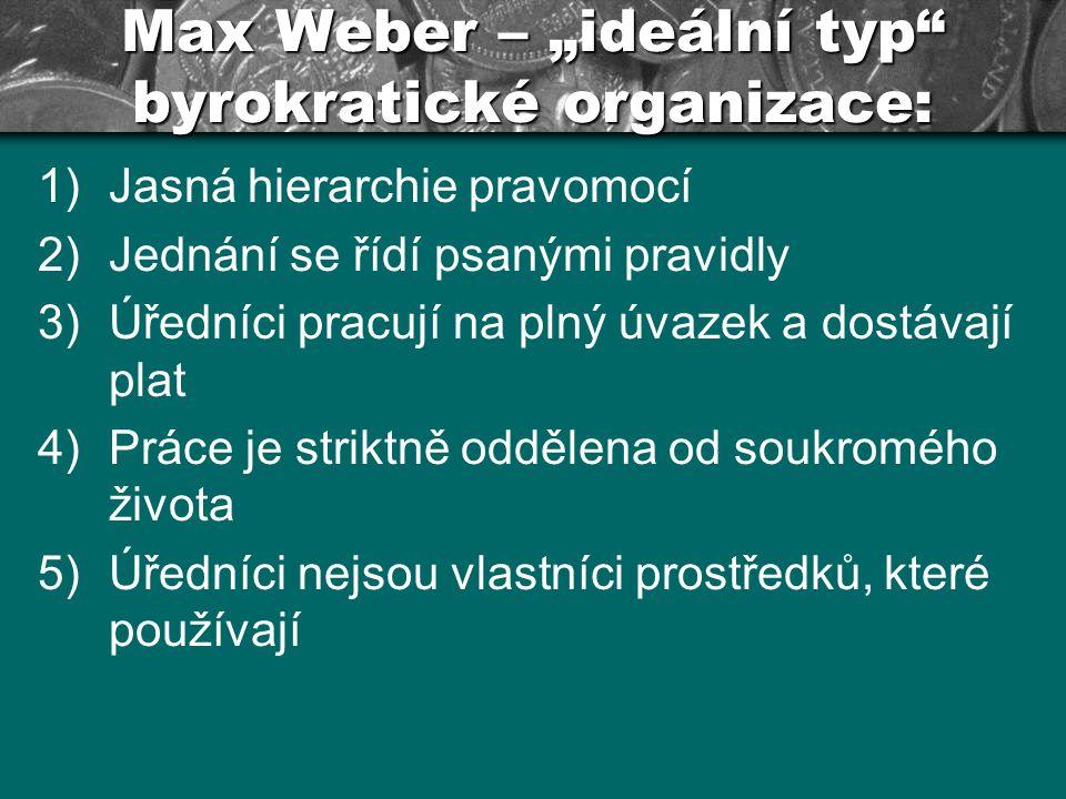 """Max Weber – """"ideální typ"""" byrokratické organizace: 1)Jasná hierarchie pravomocí 2)Jednání se řídí psanými pravidly 3)Úředníci pracují na plný úvazek a"""