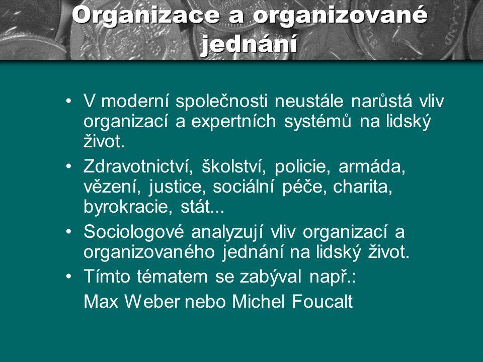 V moderní společnosti neustále narůstá vliv organizací a expertních systémů na lidský život. Zdravotnictví, školství, policie, armáda, vězení, justice