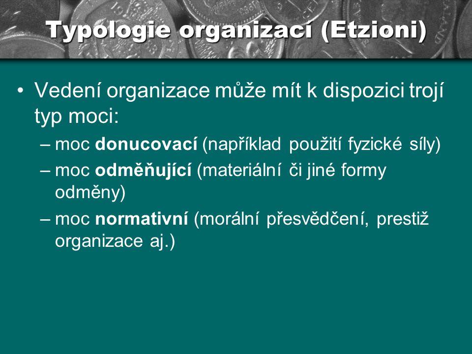 Typologie organizací (Etzioni) Naproti tomu mohou podřízení reagovat na použitý typ moci především následujícími způsoby: –alienativní (odcizený) způsob reakce (nepodporovat cíle organizace) –kalkulující reakce (podpora cílů ze zištnosti) –morální reakce (ztotožnění se s organizací)
