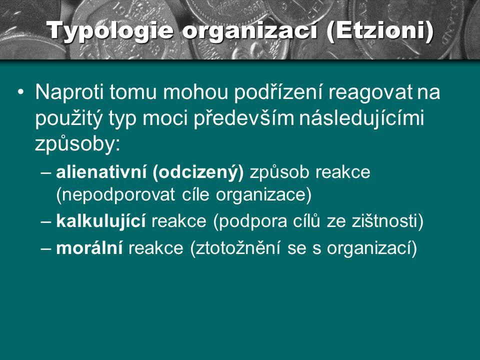 Typologie organizací (Etzioni) TYP ÚČASTI: TYP MOCI: odcizující kalkulující morální donucující 123 odměňující 456 normativní 789