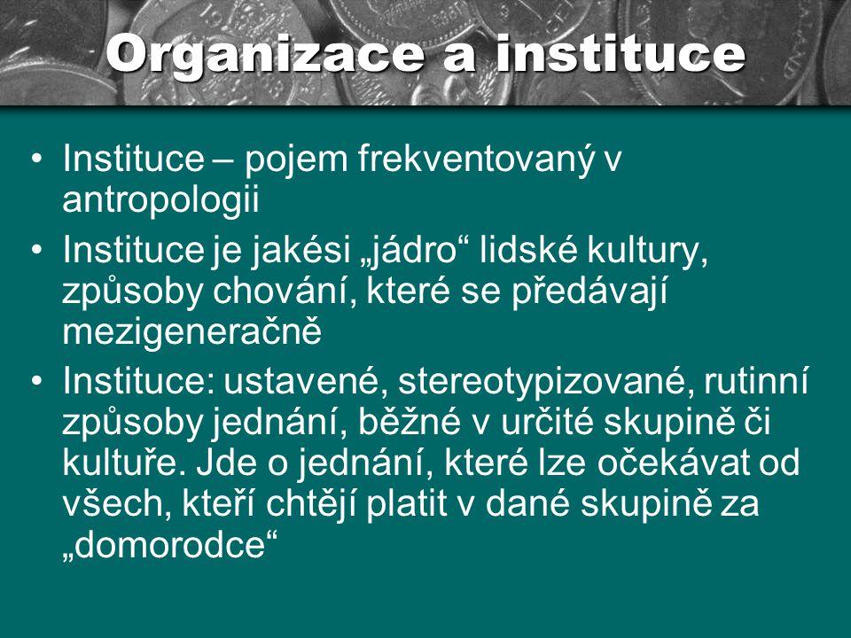 """Organizace a instituce Instituce – pojem frekventovaný v antropologii Instituce je jakési """"jádro"""" lidské kultury, způsoby chování, které se předávají"""