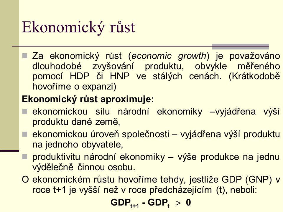 Ekonomický růst Za ekonomický růst (economic growth) je považováno dlouhodobé zvyšování produktu, obvykle měřeného pomocí HDP či HNP ve stálých cenách.