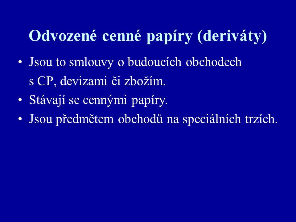 Odvozené cenné papíry (deriváty) Jsou to smlouvy o budoucích obchodech s CP, devizami či zbožím.