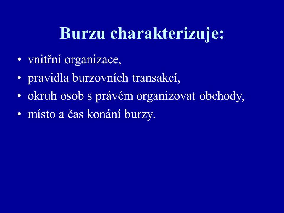 Burzu charakterizuje: vnitřní organizace, pravidla burzovních transakcí, okruh osob s právém organizovat obchody, místo a čas konání burzy.