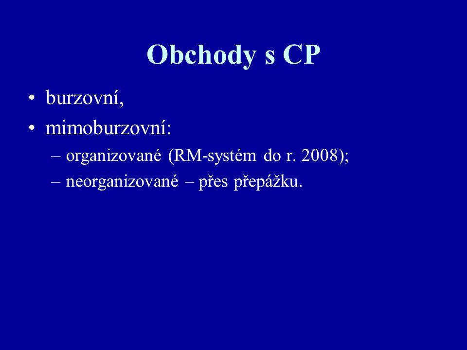 Obchody s CP burzovní, mimoburzovní: –organizované (RM-systém do r.