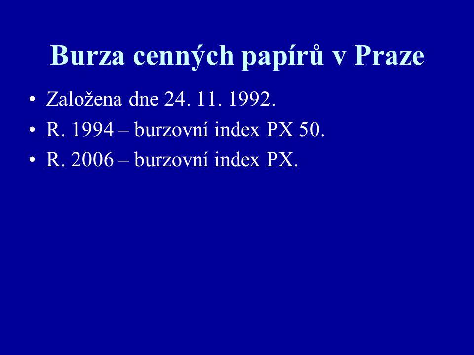 Burza cenných papírů v Praze Založena dne 24. 11.
