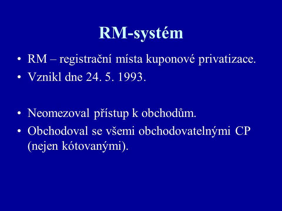 RM-systém RM – registrační místa kuponové privatizace.