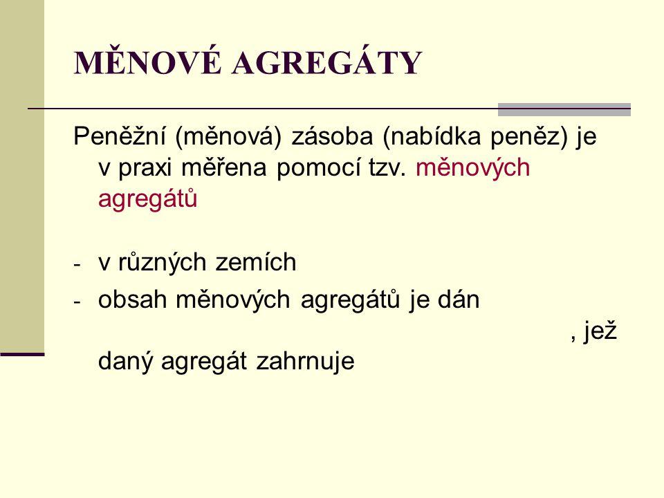 MĚNOVÉ AGREGÁTY Peněžní (měnová) zásoba (nabídka peněz) je v praxi měřena pomocí tzv. měnových agregátů - v různých zemích - obsah měnových agregátů j