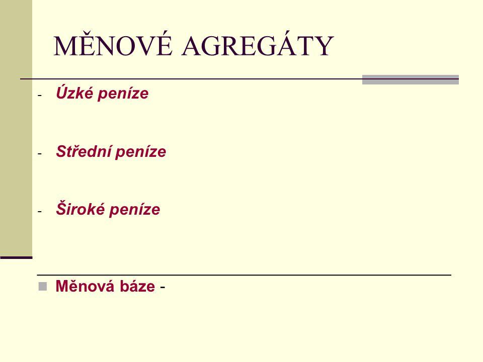 MĚNOVÉ AGREGÁTY - Úzké peníze - Střední peníze - Široké peníze ______________________________________________ Měnová báze -