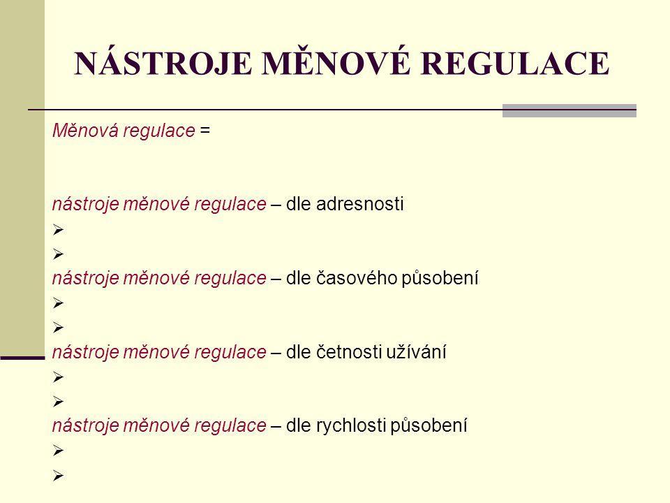 NÁSTROJE MĚNOVÉ REGULACE Měnová regulace = nástroje měnové regulace – dle adresnosti  nástroje měnové regulace – dle časového působení  nástroje měn