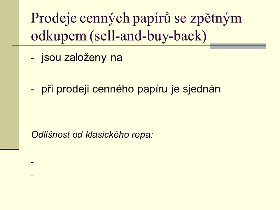 Prodeje cenných papírů se zpětným odkupem (sell-and-buy-back) - jsou založeny na - při prodeji cenného papíru je sjednán Odlišnost od klasického repa: