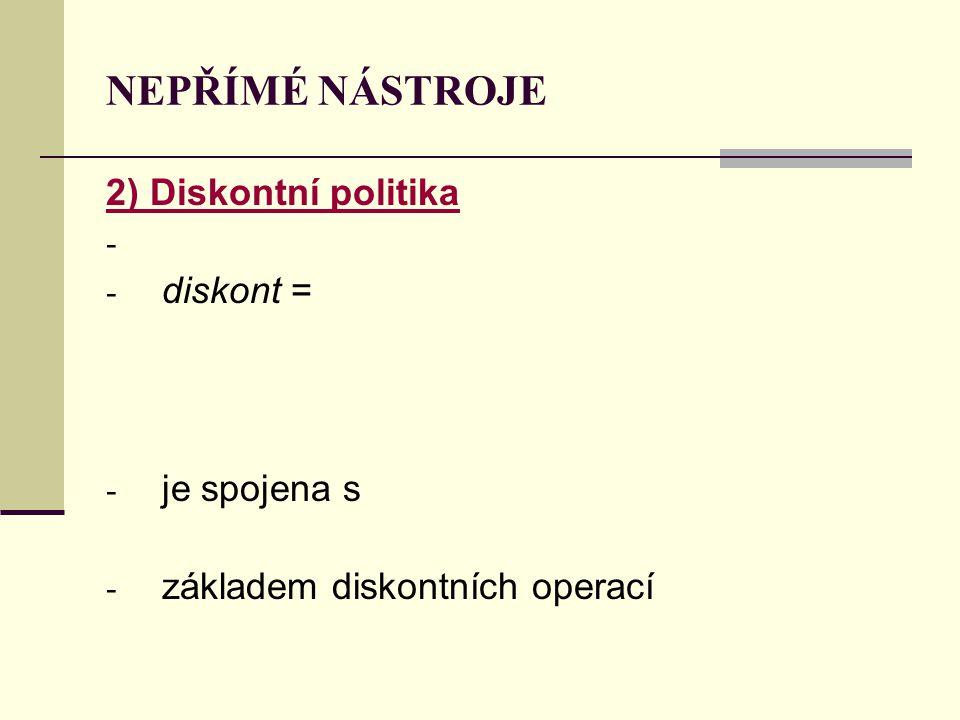 NEPŘÍMÉ NÁSTROJE 2) Diskontní politika - - diskont = - je spojena s - základem diskontních operací