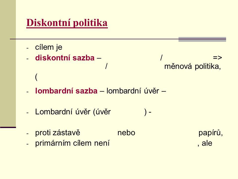 Diskontní politika - cílem je - diskontní sazba – / => / měnová politika, ( - lombardní sazba – lombardní úvěr – - Lombardní úvěr (úvěr ) - - proti zá