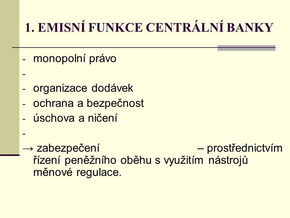 1. EMISNÍ FUNKCE CENTRÁLNÍ BANKY - monopolní právo - - organizace dodávek - ochrana a bezpečnost - úschova a ničení - → zabezpečení – prostřednictvím