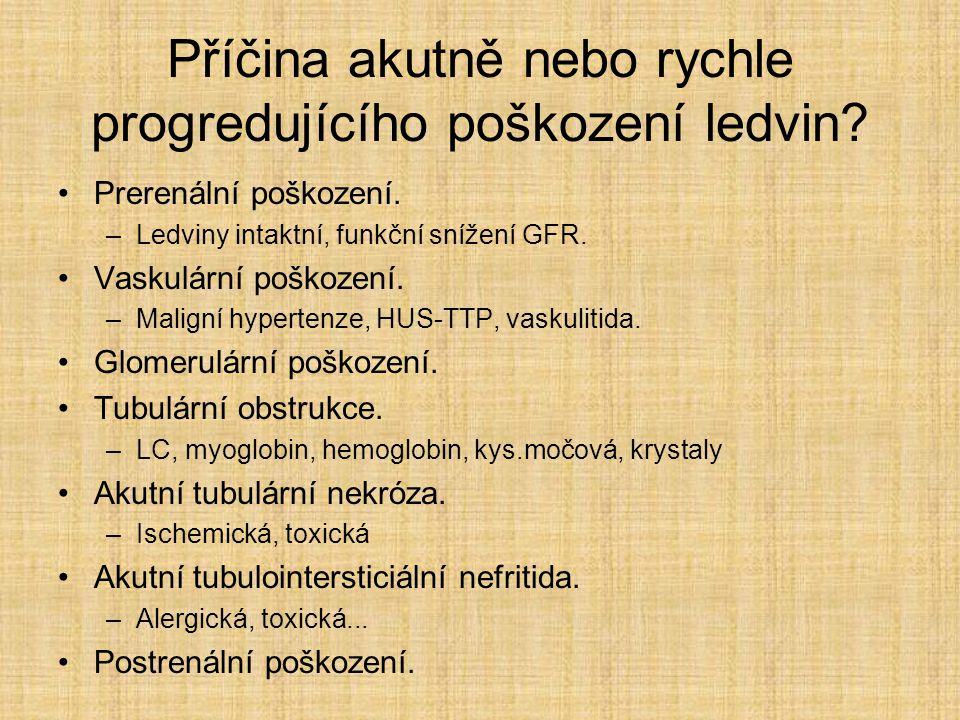 Příčina akutně nebo rychle progredujícího poškození ledvin? Prerenální poškození. –Ledviny intaktní, funkční snížení GFR. Vaskulární poškození. –Malig