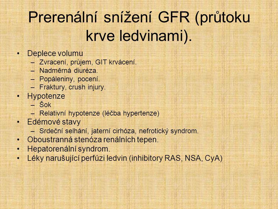 Prerenální snížení GFR (průtoku krve ledvinami). Deplece volumu –Zvracení, průjem, GIT krvácení. –Nadměrná diuréza. –Popáleniny, pocení. –Fraktury, cr
