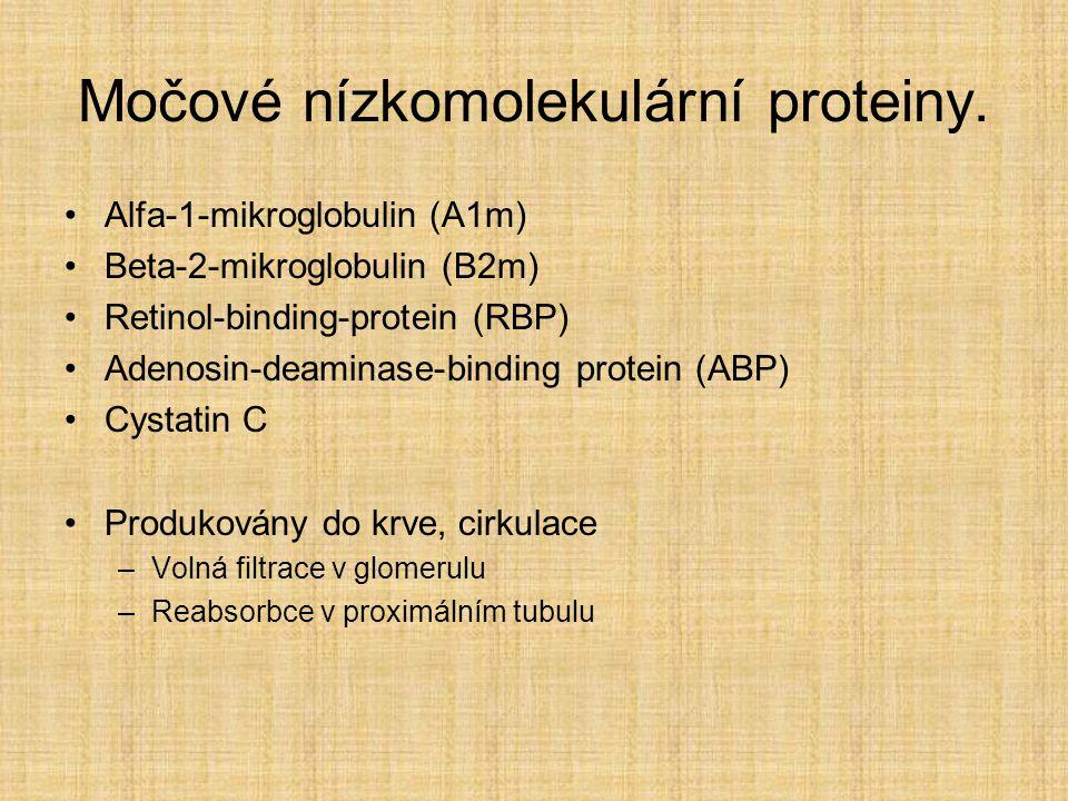 Močové nízkomolekulární proteiny. Alfa-1-mikroglobulin (A1m) Beta-2-mikroglobulin (B2m) Retinol-binding-protein (RBP) Adenosin-deaminase-binding prote